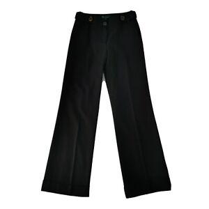 Boden Size 10L Black Wide Leg Turn Up Wool Blend Trousers Smart Office Work Tall