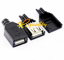 10pcs Usb2.0 Type-a Plug 4 Pin Female Adapter Connector Black Plastic Cover
