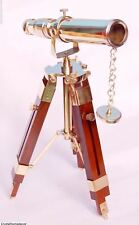 Nautical Collectible Telescope With Wooden Tripod Stand Vintage Spyglass Xmas