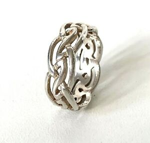 Solid Sterling Silver Celtic Knot Design Band Ring : UK: R in Gift Box