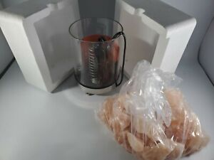Natural Himalayan Salt Lamp in Clear Glass Holder with Stainless Steel Base