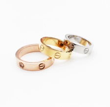 Premium High Quality Stainless Steel Love Ring GOLD SILVER ROSE Gift 4mm