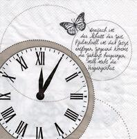 4 Motivservietten Servietten Tovaglioli Napkins Uhr Uhrzeit Schmetterling  (130)