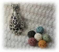 Small Teardrop Essential Oil Aromatherapy Necklace Diffuser with 6 lava stones!