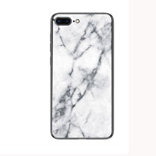 For Apple iPhone X  7 8 Plus 6S Marble Pattern Glass Hybrid Phone Case Cover