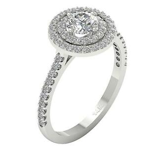 SI1 H 1.51 Carat Natural Diamond Solitaire Halo Engagement Ring White Gold RS 5