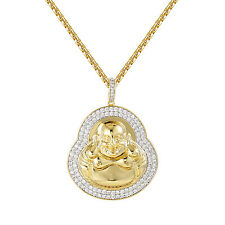 Buddha Medallion Style Pendant 14k Gold Finish Simulated Diamonds Buddhist Chain