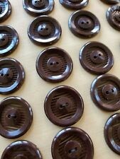 "Vintage Buttons - 24 Chocolate Brown Slatted 2 hole Casein 7/8"" Buttons"