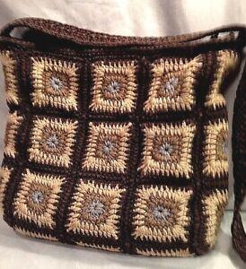 Vintage The Sak Shoulder Strap Grandma Quilt Squares Brown Tan Blue