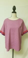 Chicos Top Sz.2 Large short Sleeve Purple Red geometric Print Blouse zipper back