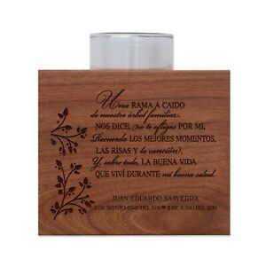 Personalized Memorial Wooden Candle Holder Gift For Loss of Loved One 3.75x3.75