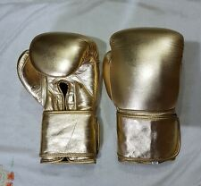 New Custom Real Golden Leather Boxing Gloves any Logo r Name, inspired by grant