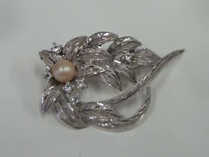 Brooch Sterling Silver Pearl And Bright Silver 925 - 12.00gr