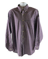 Brooks Brothers The Original Polo 346 Shirt Non Iron Maroon White Checkered M