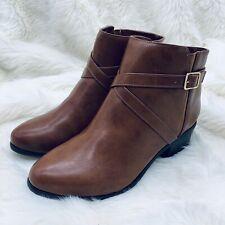 Karen Scott Falonn Women's Ankle Boots Size 9 W Cognac Brown Buckle Zip Bootie