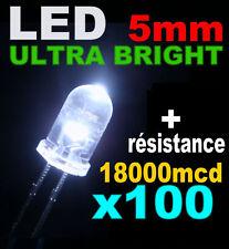 R417/100# LED 5mm Blanche 18000 mcd + résistance 100pcs