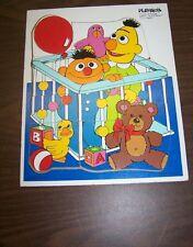 Playskool Sesame Street Bert & Ernie As Babies Wood Frame Puzzle in Crib w/Duck