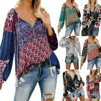 Fashion Women's Floral Print V Neck Long Sleeve Pleated Shirts Casual Loose Tops