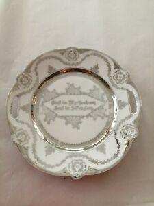 Schale zur Silberhochzeit, reliefert, üppig verziert versilberte Aufschrift -A13