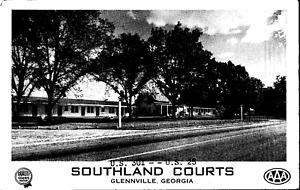 Vintage C. 1950 Southland Courts Motel Cottages Glennville Georgia GA Postcard