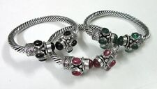 Wholesale Lot 3 Pcs Silver Plated Black Onyx,Green Onyx & Ruby Adjustable Bangle