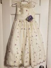 Girls White With Purple Flowers Cinderella Sleeveless Dress Size 6