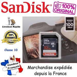 SANDISK Carte Mémoire SD SDHC 32 Go - Gamme Ultra Lite 100 Mo/s UHS-I Classe 10
