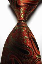New Classic Paisleys Red Green JACQUARD WOVEN 100% Silk Men's Tie Necktie