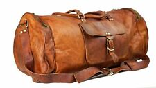 "20"" Tan Leather Duffel Travel Weekend Luggage Overnight Carry on Handbag"