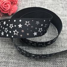 5yards 25mm print Five stars Hot silver Grosgrain Bow Ribbon Hair Sewing Black