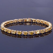Women Hot Sale Round Yellow Citrine CZ 18K Yellow Gold Plated Tennis Bracelet 7""
