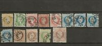 AUSTRIA 1860-80 13 EARLY CLASSICS TO 50KR USED Franz Josef Coarse and Fine Print