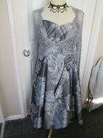 BN DEBUT GREY SILVER TAFFETA LINED DRESS WITH GRY CROCHET SHRUG SIZE 14