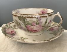 Beautiful Antique GDA Limoges Cup Saucer Roses