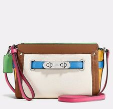 NWT Coach Swagger Rainbow Colorblock Leather Wristlet Convertible Bag 65585