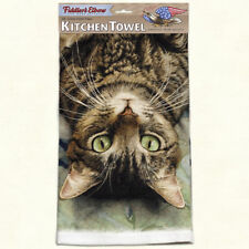 """FIDDLER'S ELBOW """"Peculiar Perspective"""" K315 Kitchen Towel~22″X32″~ Tabby Cat ~"""