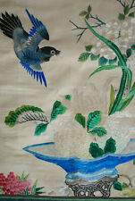 Vintage Oriental Silk Embroidery Panel With Bird, Flower And Fountain Museum