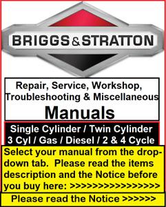 Briggs and Stratton Repair Manual 270962 276781 272147 CE8069 273521 271172