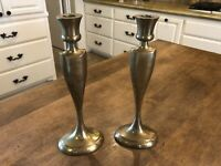 """Set of 2 / Pair Solid Brass 11"""" Bombay Company Taper Candle Holders Candlesticks"""