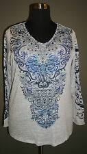ONE WORLD WOMEN'S PLUS SIZE GRAY BLUE EMBELLISHED LONG SLEEVE BLOUSE TOP Sz 2X