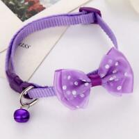 Bow Tie Adjustable Kitten Necktie Collar Bowknot Dot Pet Small Bell Cat E9R6