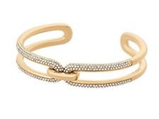 MICHAEL KORS Women's Iconic Links Gold Tone Cuff Bracelet Crystals MKJ6947710