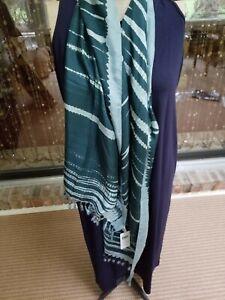 NWT Eileen Fisher Silk Shibori Tassel Artisanal (Japanese) scarf in blue spruce