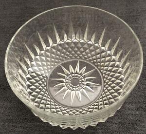 "Salad Serving Bowl - Vintage Arcoroc France Diamant Crystal Clear Glass 8"" Bowl"