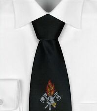Black icefond Fire Brigade Tie with Woven Badge, suit, long ties