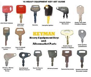 16 Keys Heavy Equipment / Construction Ignition Key Set Case Cat JD Komatsu JCB