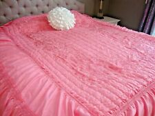 Vintage Embroidered Satin Bedspread Coverlet Full Old Hollywood Pink Perfection!