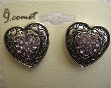 Heart Earrings New Silver Purple Rhinestone Costume Jewelry Value Priced