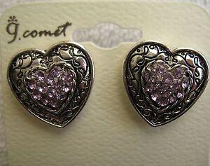 Heart Earrings New Silver Purple Rhinestone Costume Jewelry Value Priced