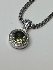 "Light Green Peridot Designer Inspired Silver Finish Pendant Necklace 18"" GiftBox"